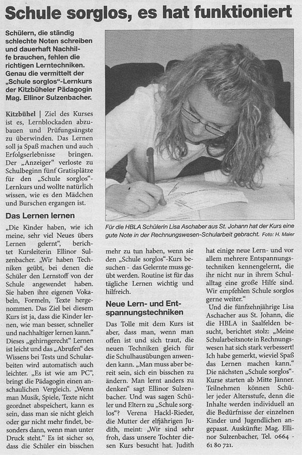Artikel von Sulzenbacher im Kitzbüheler Anzeiger, 2011