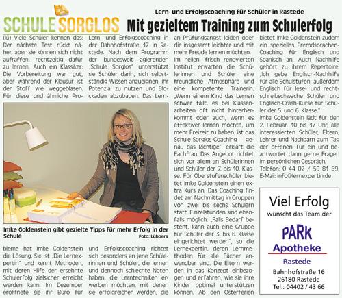 Bericht über unsere Kursleiterin Frau Goldenstein aus Rastede