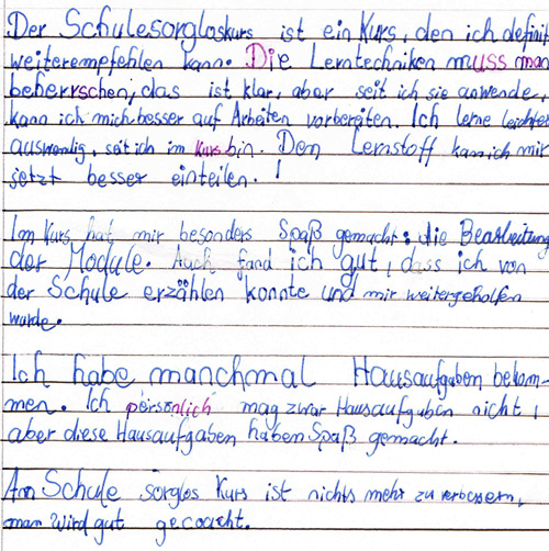 Feedback von Jeremy, 7. Klasse
