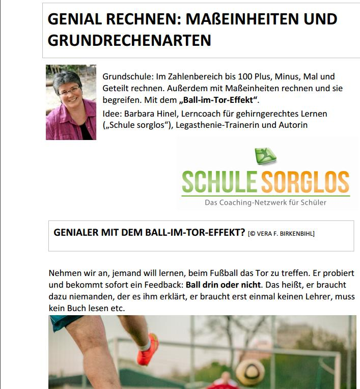 Arbeitsblatt Maße Grundschule- gehirngerecht!   Schule sorglos